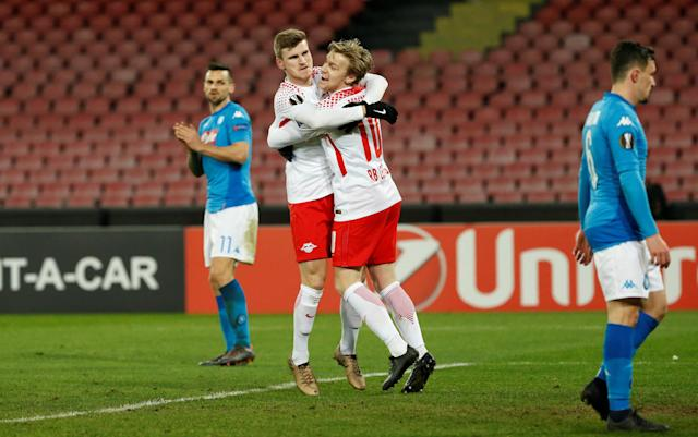 Soccer Football - Europa League Round of 32 First Leg - Napoli vs RB Leipzig - Stadio San Paolo, Naples, Italy - February 15, 2018 RB Leipzig's Timo Werner celebrates scoring their third goal with Emil Forsberg REUTERS/Ciro De Luca