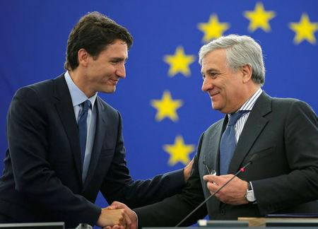 Canada's Prime Minister Trudeau arrives with European Parliament President Tajani to adress the European Parliament in Strasbourg