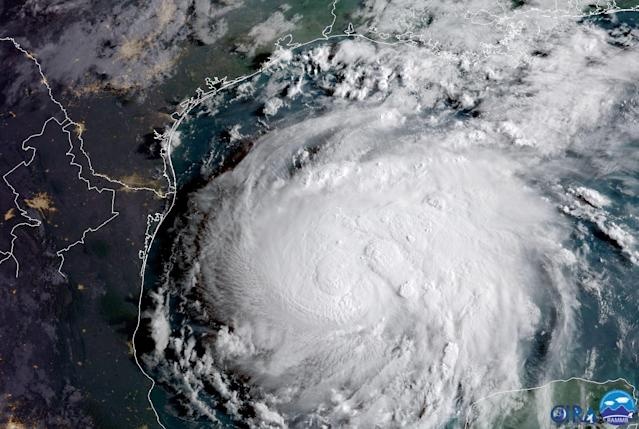 <p>Hurricane Harvey is seen in the Texas Gulf Coast, in this NOAA GOES satellite image on August 24, 2017. (Photo: NOAA/Handout via Reuters) </p>