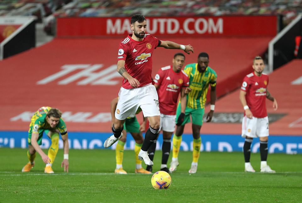 Manchester United's Bruno Fernandes scores their winner against West Bromwich Albion from the penalty spot.