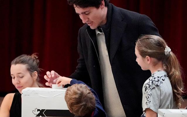 Justin Trudeau casts his vote in Montreal - REUTERS