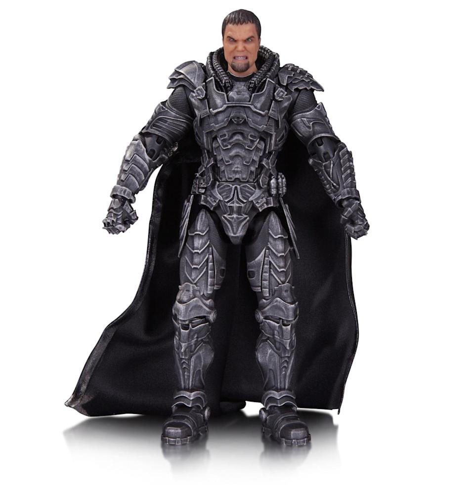 """<p>Man of Steel is also well-represented in the new line of figures. Here's the chief antagonist (played by Michael Shannon), a Kryptonian hellbent on destroying Earth. Zod <a href=""""https://www.yahoo.com/movies/new-batman-v-superman-trailer-reveals-the-real-062119890.html"""" data-ylk=""""slk:also plays a key role;outcm:mb_qualified_link;_E:mb_qualified_link;ct:story;"""" class=""""link rapid-noclick-resp yahoo-link"""">also plays a key role</a> in the upcoming <i>Batman v Superman</i>. The figure comes with three different heads (angry face, laser eyes, and mask) and an assortment of hands. <i>(Available in September; $45)</i></p>"""