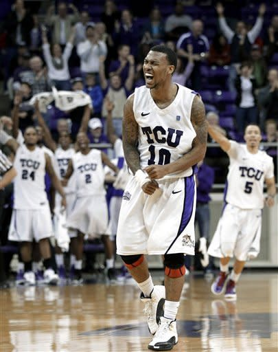 TCU 's Hank Thorns celebrates making a basket to tie the game against UNLV late in the second half of an NCAA college basketball game Tuesday, Feb. 14, 2012, in Fort Worth, Texas. Thorns led scoring with 32 points in the 102-97 victory over UNLV. (AP Photo/Tony Gutierrez)