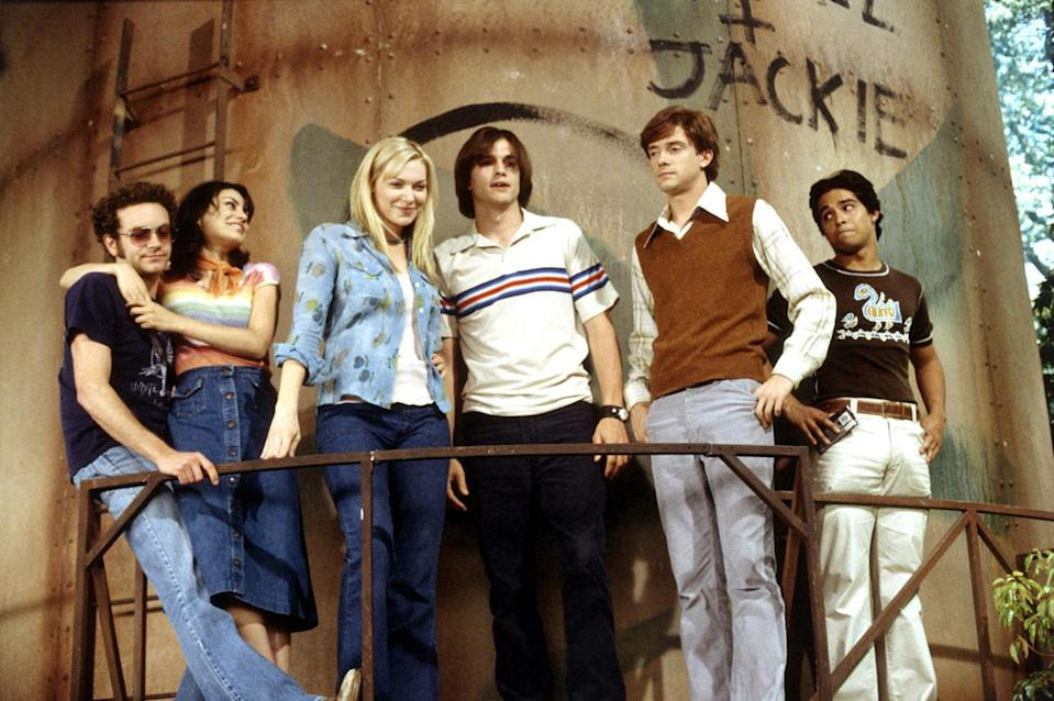 """<p>On <em>That '70s Show</em>, the '70s music wasn't limited to 8-tracks played on Eric Foreman's basement stereo. About half of the 200 episodes of Fox's '70s-set sitcom were named after rock songs, with a different band dominating each of the final four seasons. Season 5's episodes were named after Led Zeppelin songs (yes, there's an episode titled <a rel=""""nofollow noopener"""" href=""""https://www.youtube.com/watch?v=CWf5FYSK7Yc"""" target=""""_blank"""" data-ylk=""""slk:""""The Crunge!"""""""" class=""""link rapid-noclick-resp"""">""""The Crunge!""""</a>), with the Who (Season 6), the Rolling Stones (Season 7), and Queen (Season 8) rounding out the primetime playlist. We don't know exactly why writers switched to the band-themed titling, but it's interesting to note that the show <a rel=""""nofollow noopener"""" href=""""http://www.imdb.com/title/tt0165598/trivia"""" target=""""_blank"""" data-ylk=""""slk:was initially titled"""" class=""""link rapid-noclick-resp"""">was initially titled</a> """"Teenage Wasteland,"""" and then """"The Kids Are Alright"""" until legal issues forced producers to scrap the Who references.<br><br>(Photo: 20th Century Fox Film Corp. /Courtesy: Everett Collection) </p>"""