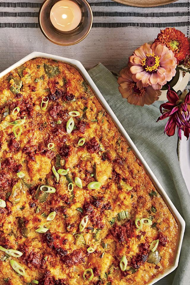 """<p><strong>Recipe: <a href=""""https://www.southernliving.com/recipes/spicy-cornbread-dressing-with-chorizo"""">Spicy Cornbread Dressing with Chorizo</a></strong></p> <p>This spicy cornbread will surely bring the heat to your Thanksgiving table.</p>"""