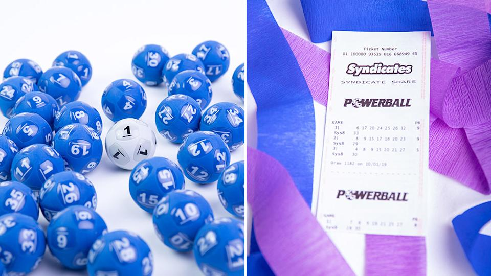 Picture of lottery balls and a Powerball ticket - the Powerball jackpot has climbed to $80 million for next Thursday's draw, no entry had the winning numbers of 26, 15, 16, 6, 1, 21 and 10, and the Powerball number was 19