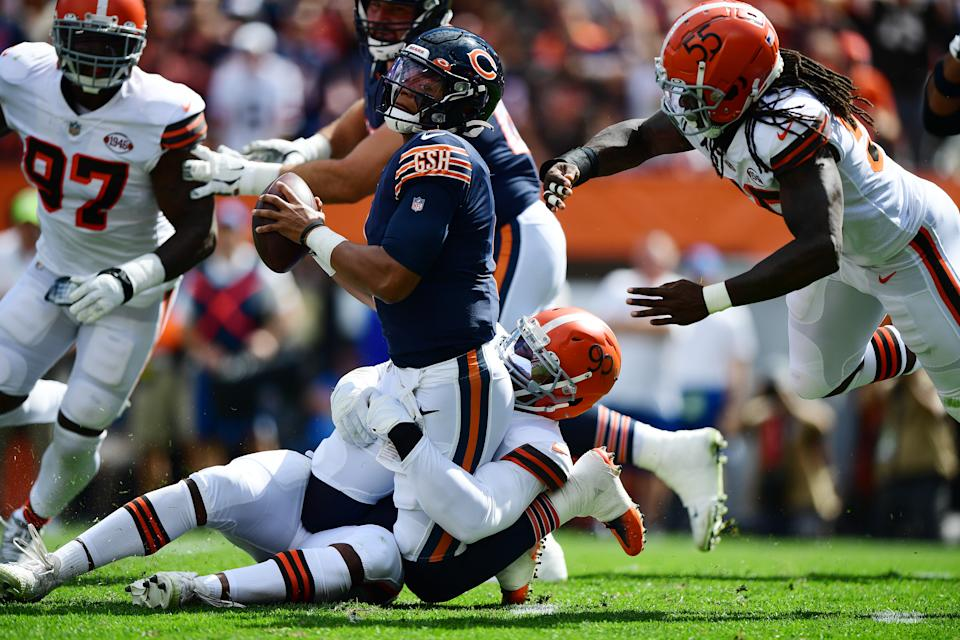 Bears quarterback Justin Fields was under constant pressure in a rough first NFL start. (Photo by Emilee Chinn/Getty Images)