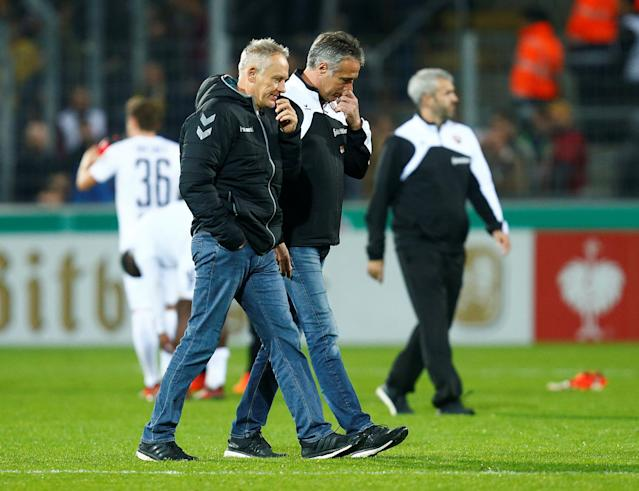 Soccer Football - DFB Cup Second Round - SC Freiburg v Dynamo Dresden - Dreisamstadion, Freiburg, Germany - October 25, 2017 SC Freiburg coach Christian Streich at the end of the match REUTERS/Ralph Orlowski DFB RULES PROHIBIT USE IN MMS SERVICES VIA HANDHELD DEVICES UNTIL TWO HOURS AFTER A MATCH AND ANY USAGE ON INTERNET OR ONLINE MEDIA SIMULATING VIDEO FOOTAGE DURING THE MATCH.
