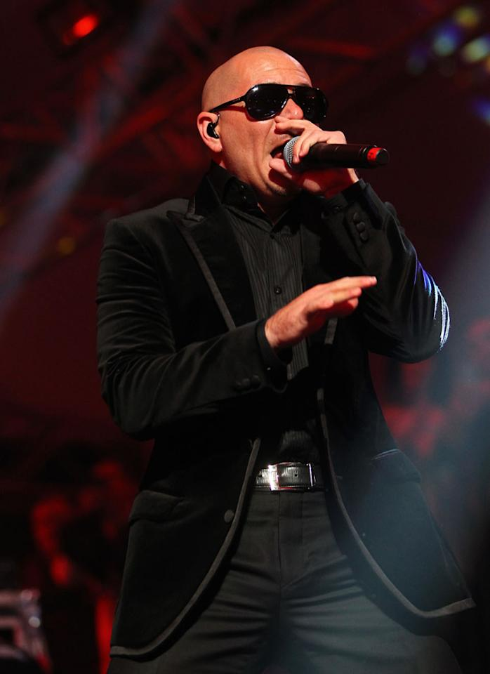 Pitbull performs at the Bud Light Hotel concert in Indianapolis.
