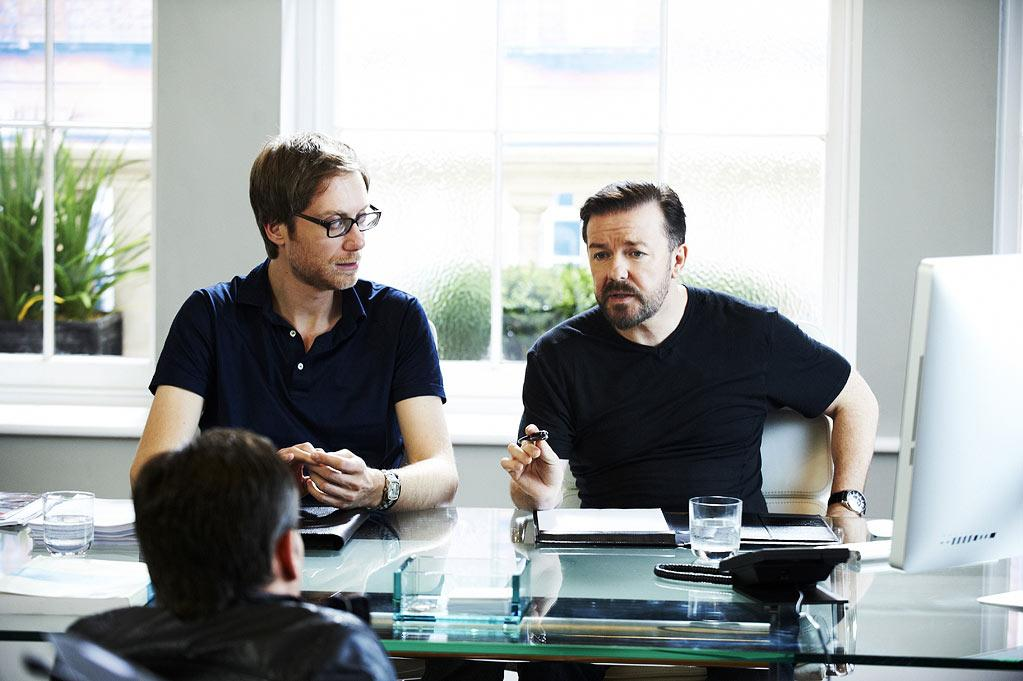 """Stephen Merchant, Warwick Davies, and Ricky Gervais in """"Life's Too Short."""""""