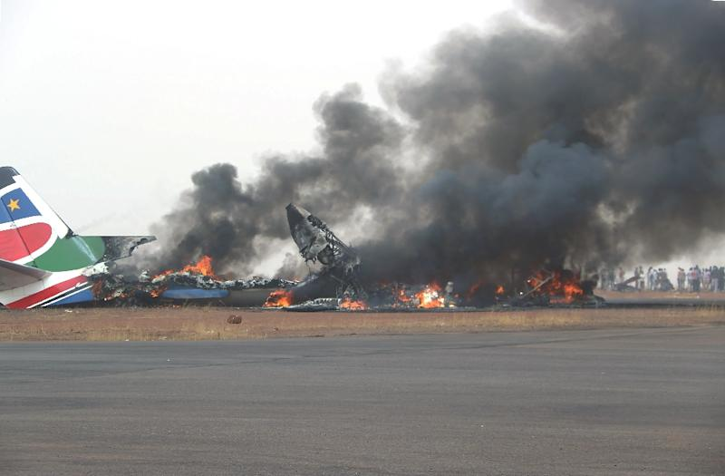 A fireball consumed the South Supreme Airlines plane soon after it crash landed in northwestern South Sudan on Monday