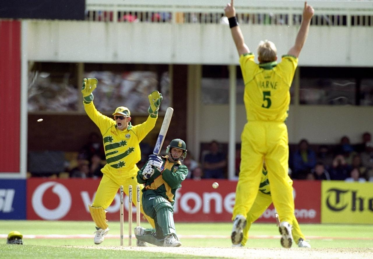 17 Jun 1999:  Gary Kirsten of South Africa is bowled by Shane Warne of Australia in the World Cup semi-final at Edgbaston in Birmingham, England. The match finished a tie as Australia went through after finishing higher in the Super Six table. \ MandatoryCredit: Clive Mason /Allsport