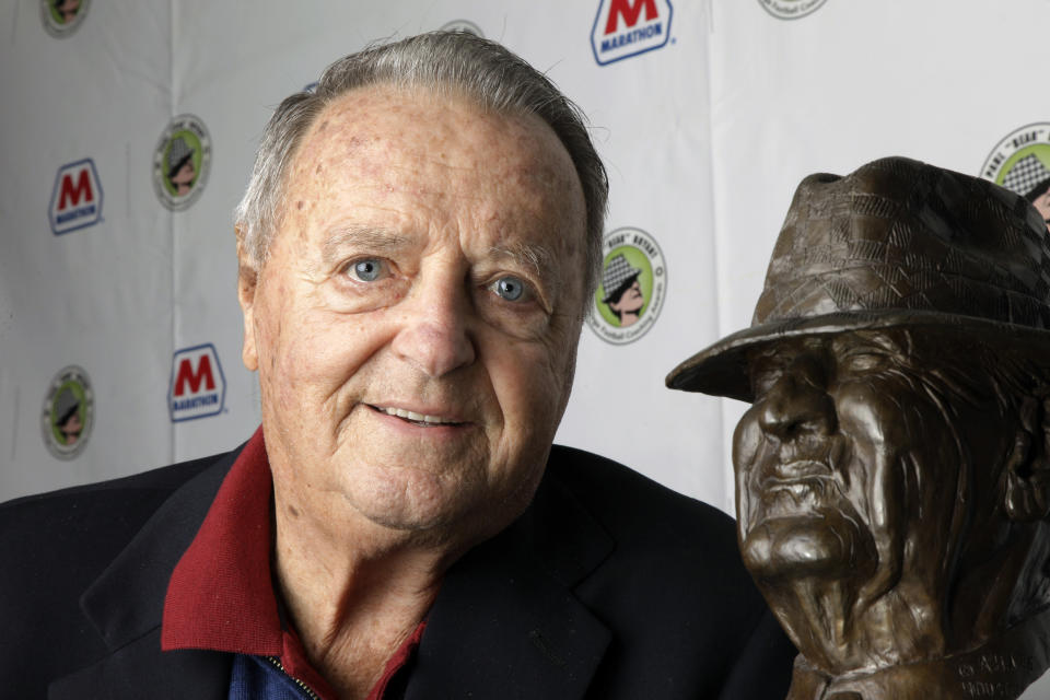 """FILE - In this Jan. 18, 2011, file photo, Bobby Bowden poses with the Paul """"Bear"""" Bryant College Coach of the Year Award in Houston. The legendary college football coach announced Wednesday, July 21, 2021, that he has been diagnosed with a terminal medical condition. (AP Photo/David J. Phillip, File)"""