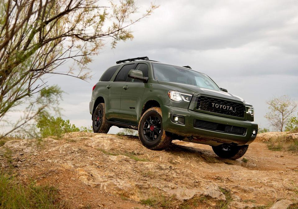 "<p>For 2020, even the massive, three-row <a href=""https://www.caranddriver.com/toyota/sequoia"" rel=""nofollow noopener"" target=""_blank"" data-ylk=""slk:Toyota Sequoia"" class=""link rapid-noclick-resp"">Toyota Sequoia</a> SUV has been fortified into a TRD Pro. Toyota knows it has a good thing going with these models, and they're going to push the TRD Pro brand as far as it can. The Sequoia is a brother to the Tundra, so much of the TRD Pro equipment is shared between them. The exterior has been toughened up; the suspension, beefed up with front and rear Fox dampers. It wears 18-inch BBS wheels and all-terrain tires, and the four-wheel-drive system includes a low-range ratio. A Torsen locking center differential helps 401 lb-ft of peak torque from the 5.7-liter V-8 engine to the wheels.</p>"
