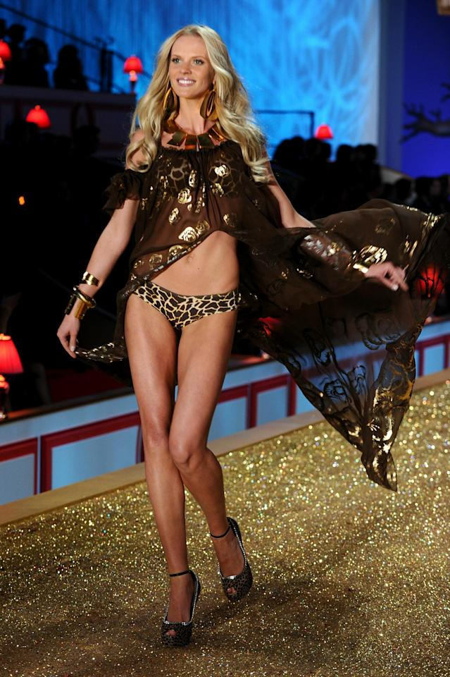 NEW YORK - NOVEMBER 10: Model Anne Vyalitsina walks the runway during the 2010 Victoria's Secret Fashion Show at the Lexington Avenue Armory on November 10, 2010 in New York City. (Photo by Theo Wargo/Getty Images)