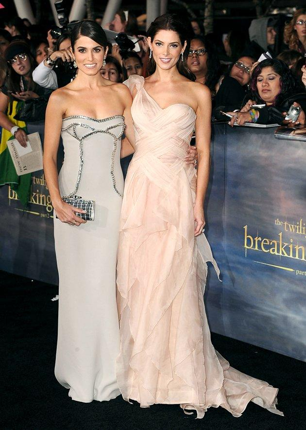 """We'll get to RPattz and KStew in a second ... but first, feast your eyes on the gorgeousness Nikki Reed and Ashley Greene released at the highly anticipated premiere of """"The Twilight Saga: Breaking Dawn - Part 2"""" on Monday night in downtown Los Angeles. Nikki knocked it out of the park in a structured, strapless Versace dress, while Ashley opted for Donna Karan dreaminess. If forced to pick a winner, would you be Team Rosalie (Reed) or Team Alice (Greene)? (11/12/2012)"""