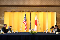 U.S. Deputy Secretary of State Stephen Biegun, left, and Japan's Foreign Minister Toshimitsu Motegi, right, attend their bilateral meeting in Tokyo Friday, July 10, 2020. (Behrouz Mehri/Pool Photo via AP)
