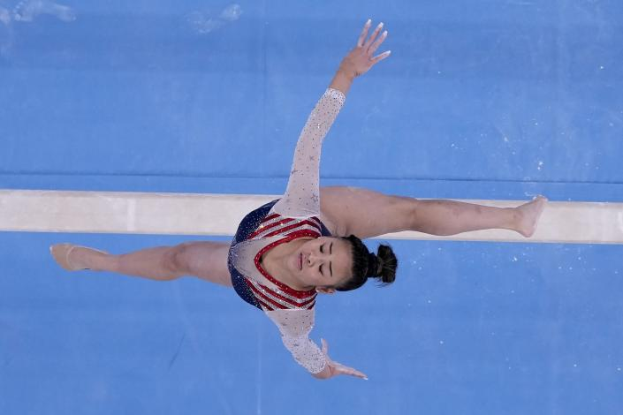 Sunisa Lee, of the United States, performs on the balance beam during the artistic gymnastics women's all-around final at the 2020 Summer Olympics, Thursday, July 29, 2021, in Tokyo. (AP Photo/Morry Gash)