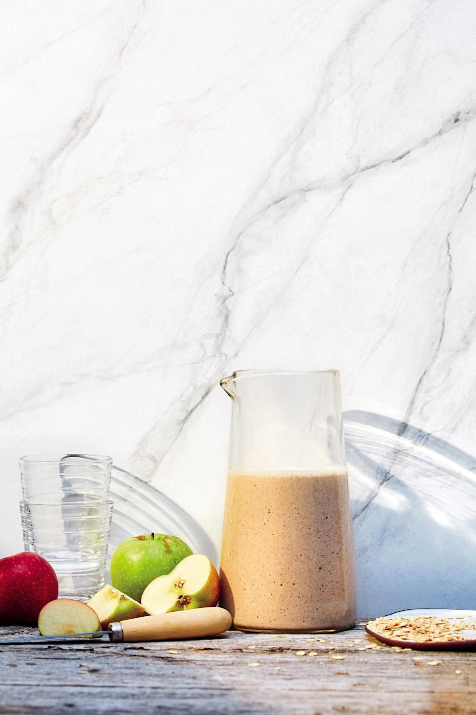 """This smoothie is the delicious, drinkable solution for all your apple pie cravings. <a href=""""https://www.epicurious.com/recipes/food/views/apple-pie-smoothie-smoothie-project-catherine-mccord?mbid=synd_yahoo_rss"""" rel=""""nofollow noopener"""" target=""""_blank"""" data-ylk=""""slk:See recipe."""" class=""""link rapid-noclick-resp"""">See recipe.</a>"""