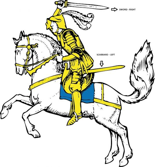 Illustration of an English Knight with a sword.