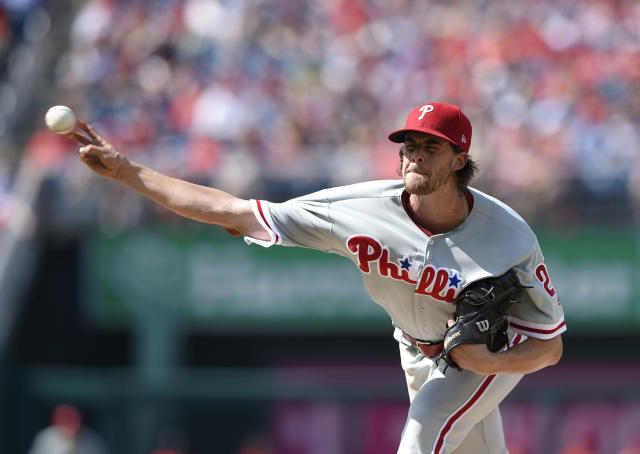 Philadelphia Phillies starting pitcher Aaron Nola delivers during the first inning of a baseball game against the Washington Nationals, Saturday, June 23, 2018, in Washington. (AP Photo/Nick Wass)