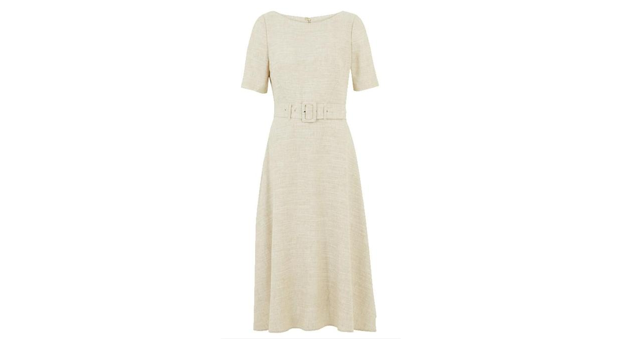 Linen Belted Midi Tailored Dress