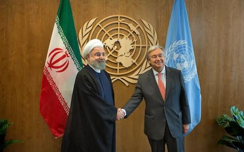 United Nations Secretary-General Antonio Guterres meets with Iran's President Hassan Rouhani during a bilateral meeting at the United Nations on September 18, 2017 - Credit: Kevin Hagen/Getty Images