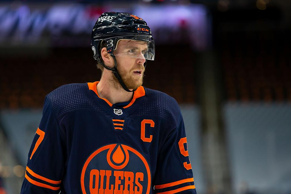 EDMONTON, AB - MAY 21: Connor McDavid #97 of the Edmonton Oilers skates against the Winnipeg Jets during Game Two of the First Round of the 2021 Stanley Cup Playoffs at Rogers Place on May 21, 2021 in Edmonton, Canada. (Photo by Codie McLachlan/Getty Images)