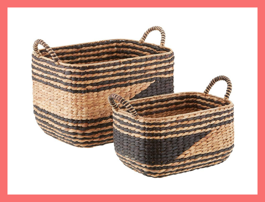 Black & Natural Water Hyacinth Storage Bins. (Photo: The Container Store)