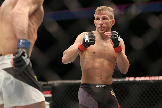 T.J. Dillashaw will face Cory Garbrandt in the main card of UFC 227 at Staples Center on Saturday. (AP)