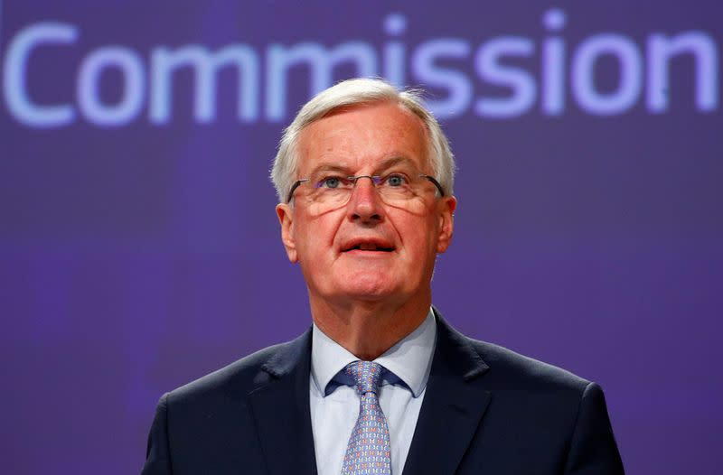 EU Brexit negotiator Michel Barnier gives a news conference in Brussels