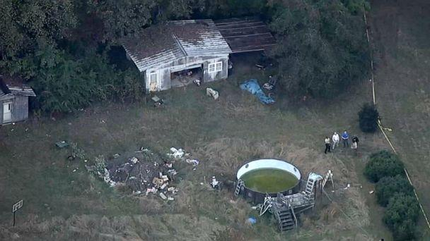 PHOTO: Aerial footage of the home where the remains were found in Nash County, North Carolina. (WTVD)