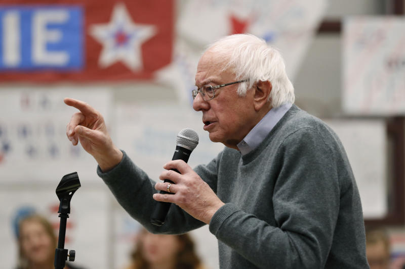Democratic presidential candidate Sen. Bernie Sanders, I-Vt., speaks during a town hall meeting, Sunday, Dec. 15, 2019, in Keokuk, Iowa. (AP Photo/Charlie Neibergall)