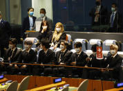 Members of the South Korean K-pop band BTS appear at the Sustainable Development Goals meeting during the 76th session of the United Nations General Assembly, at the United Nations Headquarters on Monday, Sept. 20, 2021. (John Angelillo/Pool Photo via AP)