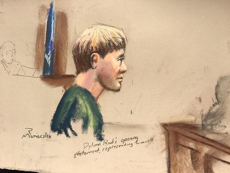 Dylann Roof, who is facing the death penalty for the hate-fueled killings of nine black churchgoers, makes his opening statement at his trial in this courtroom sketch in Charleston