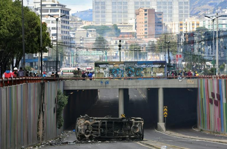 The demonstrations were sparked by President Lenin Moreno scrapping fuel subsidies to obtain a $4.2 billion loan from the International Monetary Fund (AFP Photo/Cristina VEGA)