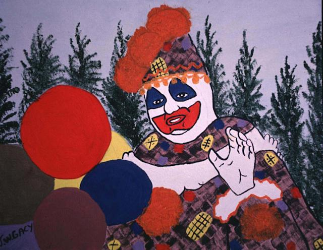 "One of serial killer John Wayne Gacy's many paintings of ""Pogo the Clown."" (Photo: Steve Eichner/WireImage)"
