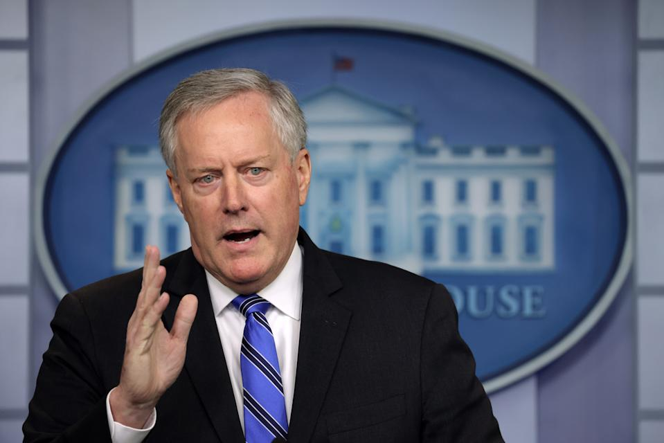 WASHINGTON, DC - JULY 31: White House Chief of Staff Mark Meadows speaks during a news briefing at the James Brady Press Briefing Room of the White House July 31, 2020 in Washington, DC. Meadows spoke on the new COVID-19 stimulus package that is being negotiated on Capitol Hill.  (Photo by Alex Wong/Getty Images)