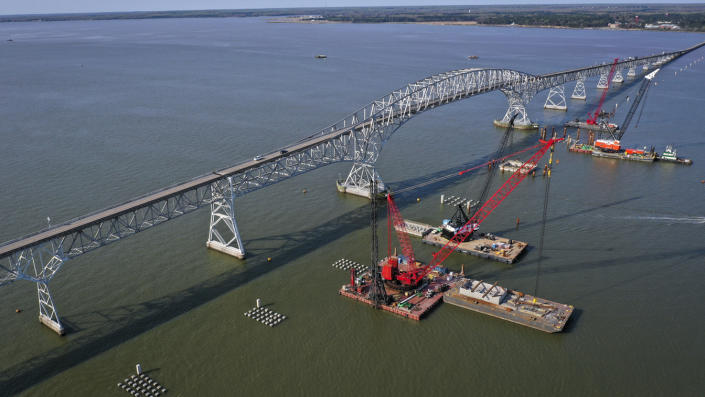 construction continues on a new $463 million Nice/Middleton Bridge