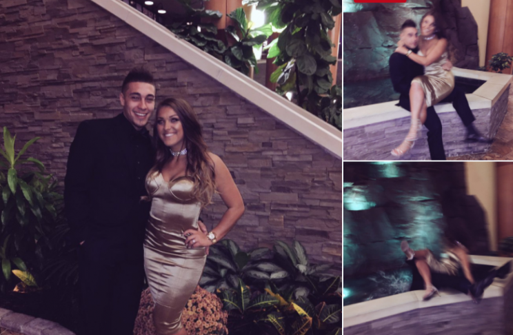 Elaina Vecchio's pictures of her falling into a fountain with her boyfriend during a romantic photo have gone viral