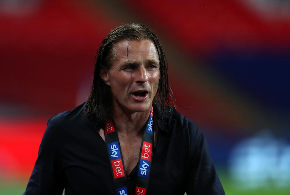 Wycombe manager Gareth Ainsworth celebrates winning the League One playoff final (Getty Images)