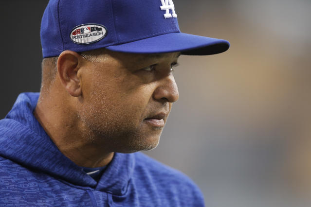 Los Angeles Dodgers manager Dave Roberts will platoon in as many as four positions. (AP)