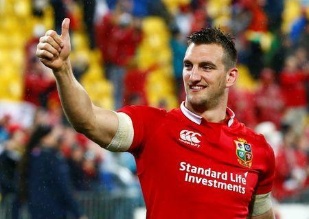 FILE PHOTO: Rugby Union - New Zealand All Blacks v British and Irish Lions - Lions Tour - Westpac Stadium, Wellington, New Zealand - July 1, 2017 Lions' Sam Warburton gestures at the end of the match. REUTERS/David Gray
