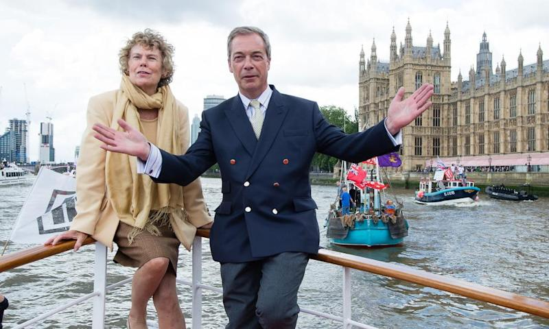 Kate Hoey and Nigel Farage aboard a boat on the Thames.