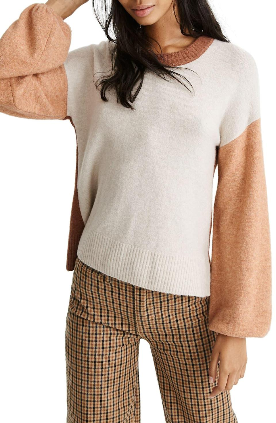 """<p><strong>MADEWELL</strong></p><p>nordstrom.com</p><p><strong>$59.50</strong></p><p><a href=""""https://go.redirectingat.com?id=74968X1596630&url=https%3A%2F%2Fshop.nordstrom.com%2Fs%2Fmadewell-payton-coziest-yarn-colorblock-pullover%2F5339025&sref=http%3A%2F%2Fwww.cosmopolitan.com%2Fstyle-beauty%2Ffashion%2Fg30057282%2Fshop-nordstrom-black-friday-cyber-monday-sale-2019%2F"""" rel=""""nofollow noopener"""" target=""""_blank"""" data-ylk=""""slk:Shop Now"""" class=""""link rapid-noclick-resp"""">Shop Now</a></p><p>Why choose just one hue when you can get this Madewell sweater that has three? And because they're various shades of tan and cream (aka neutrals), you'll wear this guy with everything.</p>"""