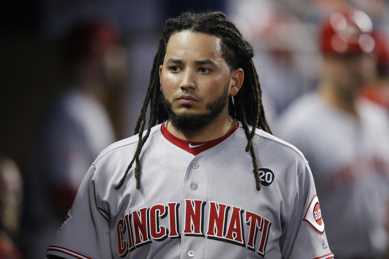 MIAMI, FLORIDA - AUGUST 28: Freddy Galvis #3 of the Cincinnati Reds looks on against the Miami Marlins at Marlins Park on August 28, 2019 in Miami, Florida. (Photo by Michael Reaves/Getty Images)