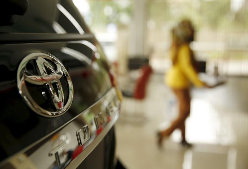 The logo of Toyota is seen on a Toyota Fortuner vehicle at a showroom in Jakarta