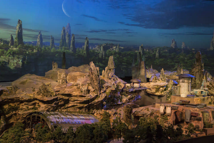 <p>After passing by an A-wing and X-wing, guests will participate in a battle between the Resistance and First Order <span>— one of two major attractions</span>. Then it's onward through the marketplace, where they'll meet aliens from across the galaxy. The big question: Are there AT-ATs under that central structure? (Disney Parks/Joshua Sudock) </p>