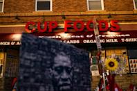 A mural of George Floyd outside the Cup Foods store in Minneapolis, Minnesota