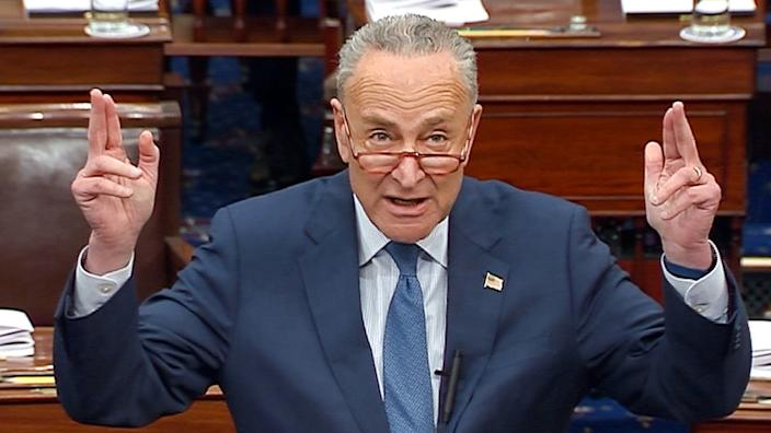 Senate Minority Leader Chuck Schumer (D-NY) speaks during debate ahead of the reconvening of the U.S. Senate impeachment trial of U.S. President Donald Trump in this frame grab from video shot in the U.S. Senate Chamber at the U.S. Capitol in Washington, U.S., January 21, 2020. (Photo: U.S. Senate TV/Handout via Reuters)
